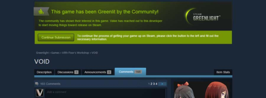 VOID has been Greenlit on Steam!